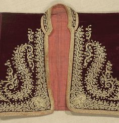 Circa 1900 Gold couched embroidery on dark red velvet. This little jacket is in very good condition, with a little abrasion of the velvet in one underarm area and also on one front lapel band Embroidery Works, Gold Embroidery, Hand Embroidery Designs, Painting Patterns, Print Patterns, Gold Couch, Fancy Dress Design, Yarn Inspiration, Old Dresses