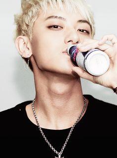 Handsome EXO Tao. He's just drinking guys... no big deal.... O_O omo. #exo #tao