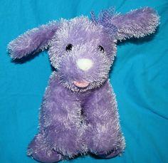 "Animal Alley Purple Stringy Dog plush stuffed soft toy White plastic nose Bow 9"" #AnimalAlley #PurplePlushDog"