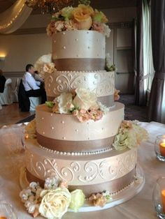 Romantic Ivory Ballroom Buttercream Flowers Ribbon Round Summer Wedding Cake Wedding Cakes Photos & Pictures - WeddingWire.com
