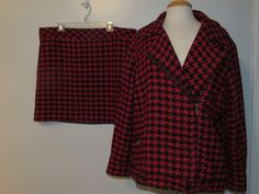 Rare! Tommy Hilfiger Womens 2 Piece Skirt Suit Office Size 18W Houndstooth Lined  | eBay