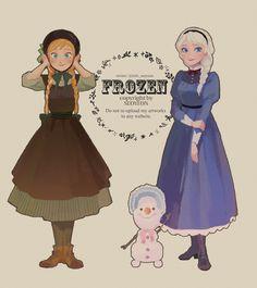 Anna, Olaf, and Elsa