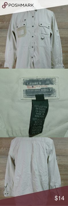 Ralph Lauren Field Button up Tan Shirt Sz L Excellent Condition....  Usually Ships Within 24 hours.... Shipping process on all items shipped are video recorded to ensure quality products arrive in pictured condition.... Thanks for stopping in! Ralph Lauren Tops Button Down Shirts