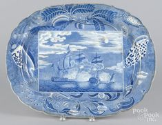 Staffordshire platter with naval engagement