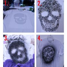 DIY TUTORIAL- SAFETY PIN SKULL:    1. You will need a skull template, safety pins & a spray can.     2. Apply template on the inside of the garment, then apply safety pins directly on top of tee & follow skull template.    3. Spray directly on top of the safety pins & use a scrap of fabric to cover around the negative space. Let air dry.    4. Wear & enjoy!