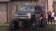 A fleet of monster trucks have joined rescue efforts in Texan cities hardest hit by Hurricane Harvey.