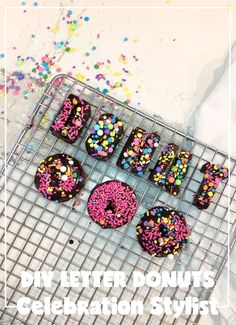 Looking for a fun DIY project? The Celebration Stylist shows a fun DIY project to make letter donuts. Donut Mix, Donut Shop, Doughnut, Donut Glaze Recipes, Coconut Oil Spray, Instagram Party, Congratulations Gift, Homemade Donuts, Cute Box