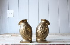 Brass+Owl+Bookends+//+Solid+Brass+by+genrestoration+on+Etsy,+$120.00