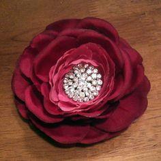Elegantly Romantic Rich Magenta Rose Flower Hair by FlairlyUnique, $16.99