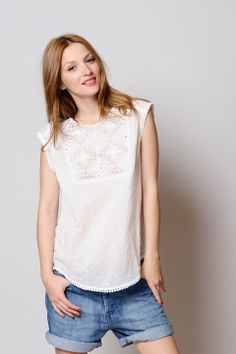 blouse Polly écru 100% coton - chemise Femme - Des Petits Hauts