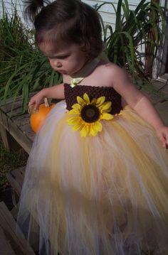 Sunflower TuTu Dress and Clip for Birthday Girl or Flower Girl - Isn't it a cute little dress