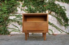 Image of Cool Mid Century Walnut Nightstand with Storage Shelf