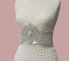 Rhinestone Crystal Beaded Bridal  Sash Belt Applique by gebridal, $75.00