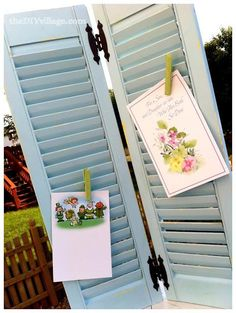 DIY Recycled project: DIY Greeting Card Display { Repurposed Shutters }