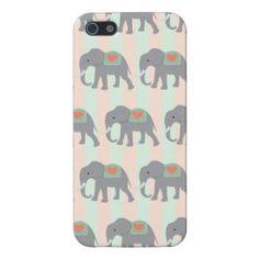 Pretty Elephants Coral Peach Mint Green Striped iPhone 5 Case
