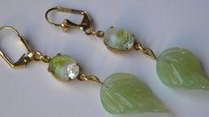 Green Opal Glass Leaf Earring Vintage Givre Glass Earring Fall Nature Earring