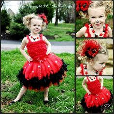 Miss Minnie Mouse Couture Feather Red & Black Tutu Party Dress