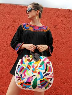 Otomi textile handbag purse bag with leather handle Www.casaotomi.com Mexican…