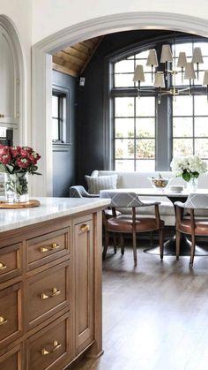 Kitchen Nook, Kitchen Dining, Kitchen Decor, Kitchen Breakfast Nooks, Dining Rooms, Open Kitchen, Rustic Kitchen, Diy Kitchen, Dining Area