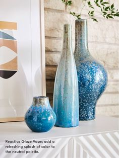 Reactive Glaze Vases add a refreshing splash of color to a neutral palatte!