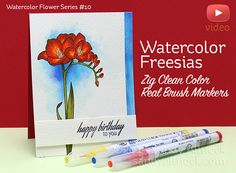 Watercolor Flower Series #10: Clean Color Real Brush Freesias - Sandy Allnock