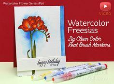 Watercolor Flower Series #10: Clean Color Real Brush Freesias - Sandy Allnock