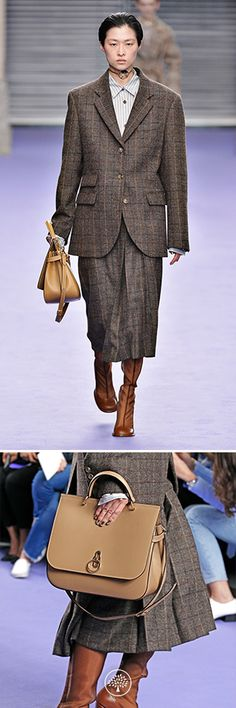 Mulberry Autumn Winter' 17 LFW show. Marcia Jacket in Dark Brown Flecked Wool Check, Alina Shirt in Lilac Jacquard Silk Stripes, Jade Skirt in Dark Brown Flecked Wool Check, Tailored Boot in Tan Polished Calf and the Portrait Choker in Brass and Mother Of Pearl. Discover more on Mulberry.com.