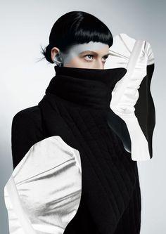 "bienenkiste: ""Photographed by Tony Andrew for Ugly magazine issue "" Black Tongue, Wild Style, Losing A Dog, Fashion Images, Yamamoto, Being Ugly, Black And Grey, Turtle Neck, Photoshoot"
