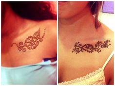 Henna on collarbone, floral henna tattoo, chest tattoo, collarbone tattoo