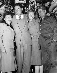 The Errol Flynn troupe at NOB Dutch Harbor, Alaska to appear in a USO Camp show. December 4, 1943.