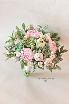 Bouquet de mariage vente bouquet succulente souvenir bouquet de mariée de Bohobouquet avec des plantes grasses et pivoines vert ecowedding fleurs en argile