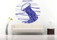 Wall Vinyl Sticker Decals Mural Room Design Art Jellyfish Waves Ocean Sea bo697 #Oracal #Modern