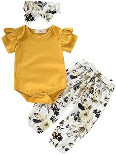 Newborn Infant Baby Girl Clothes Short Sleeve Summer Birthday Cake Smash Ruffle Romper Onsies Top Bodysuit+Floral Pants Shorts+Bowknot Headbands 3Pcs Outfit for Kids Toddle Casual Playwear 0-18 Months