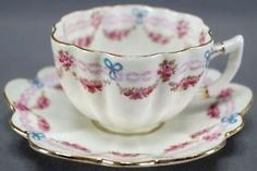 Rare Paragon Star China Pink Rose Garlands & Blue Bows Tea Cup & Saucer 1910s by yvette