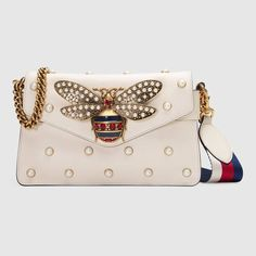 Gucci White Bee Detail and Pearl Studded Broadway Leather Clutch Bag Gucci Shoulder Bag, Chain Shoulder Bag, Shoulder Handbags, Leather Shoulder Bag, Shoulder Bags, Studded Handbags, Gucci Handbags, Studded Purse, Leather Handbags