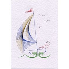 Sailing boat | Cars, boats, planes | Stitching Cards | ePatterns | Paper Embroidery