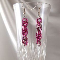 Fuschia and Silver Chainmaille Earrings by ChainedByLightness, $18.00
