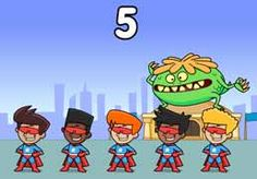 Five Superboys: A monster is stuck on the roof and Superboy needs some help! Learn the numbers from one to five with this fun counting song or play activities that help reinforce counting from one to five. Click a mouse, touch the screen or press a switch to play the song or count along a number line. Counting, Lp, Numbers, Touch, Songs, Activities, School, Fictional Characters, Fantasy Characters