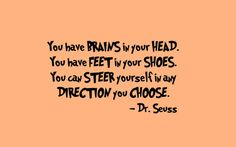 Dr Seuss Quote 'You Have Brains In Your Head' Vinyl by InitialYou, $12.95