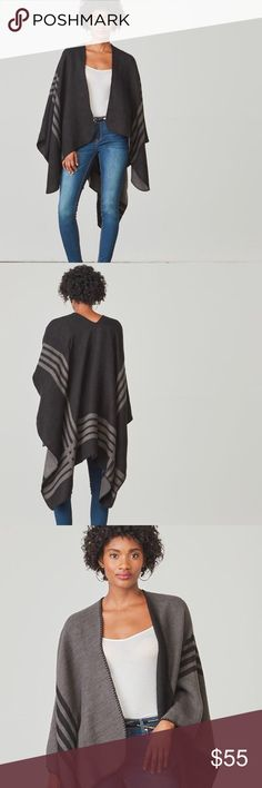 BB Dakota Reversible Black Poncho, Perfect Gift! The perfect cold weather accessory AND holiday gift! Brand new in packaging, throw it in a gift bag for your bestie, mom, aunt, co-worker, you name it! Any woman in your life would be thrilled to receive this! Or keep it for yourself, no judgment here 😜 Black and gray colors will match ANYTHING you pair it with. This is wrapped up in its packaging, I'd prefer to keep it wrapped. I'm happy to answer any questions you have. Sold out, cannot be…