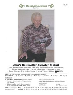 Men's Roll Collar Sweater to Knit - Dovetail Designs K2.18