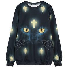 Chicnova Fashion Sweatshirt ($14) ❤ liked on Polyvore featuring tops, hoodies, sweatshirts, crew top, cat sweatshirts, blue sweatshirt, long sleeve tops and crew-neck sweatshirts