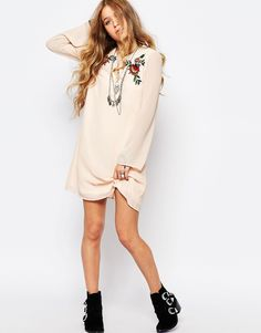 Image 4 ofGlamorous Bell Sleeve Smock Dress With Festival Embroidery