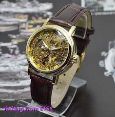 Women's steampunk watch, Women's Golden Mechanical Wrist Watch with Leather Wristband on Etsy, $38.45