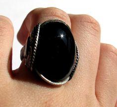 Black Onyx Ring, Chunky Gemstone, Oxidized Sterling Silver
