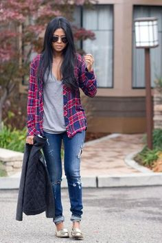 Fall outfit: Plaid shirt, casual gray t-shirt, distressed jeans, metallic loafers