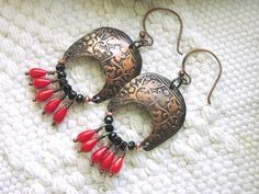 Ladies Earring Artisan Copper Roman Armor Red Coral by Mojowoman, $35.00
