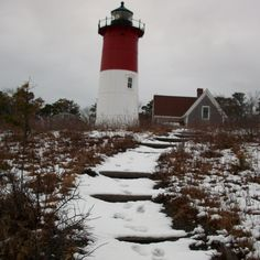 Nauset Beach Lighthouse on Cape Cod, MA.- visited in summer with my mother - in the rain :)