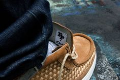 Footpatrol x Clarks Sportswear Tawyer FP 'Woven' Pack - EU Kicks: Sneaker Magazine Clarks, Sneaker Magazine, Brown Shades, Quilt Stitching, Blue Velvet, Sneakers, Casual Shoes, Men's Shoes, Sportswear