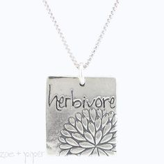 'herbivore' Word Necklace with Flower Design in Sterling Silver, #7382